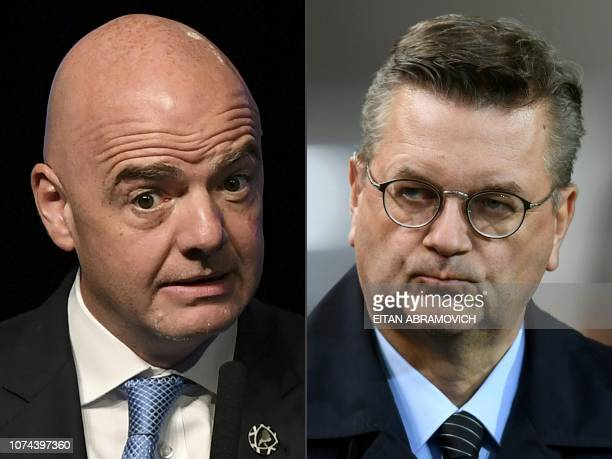 This combination of pictures created on December 19 2018 shows FIFA president Gianni Infantino and Reinhard Grindel President of the German Football...