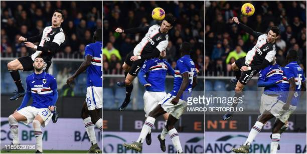 This combination of pictures created on December 19, 2019 shows Juventus' Portuguese forward Cristiano Ronaldo jumping above Sampdoria's Italian...