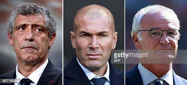 This combination of pictures created on December 2 2016 in Paris shows the three nominees for the Best FIFA Mens Coach Award Portugal's head coach...