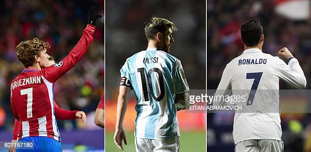 This combination of pictures created on December 2 2016 in Paris shows the three nominees for The Best FIFA Mens Player Award Atletico Madrid's...