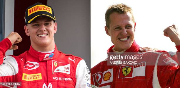 This combination of pictures created on December 2 shows German Ferrari driver Michael Schumacher celebrating on the podium of the Monza racetrack...