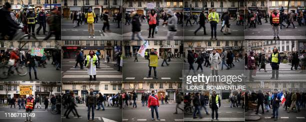This combination of pictures created on December 6 2019 shows demonstrators posing in the streets of Paris during a national general strike Claire a...