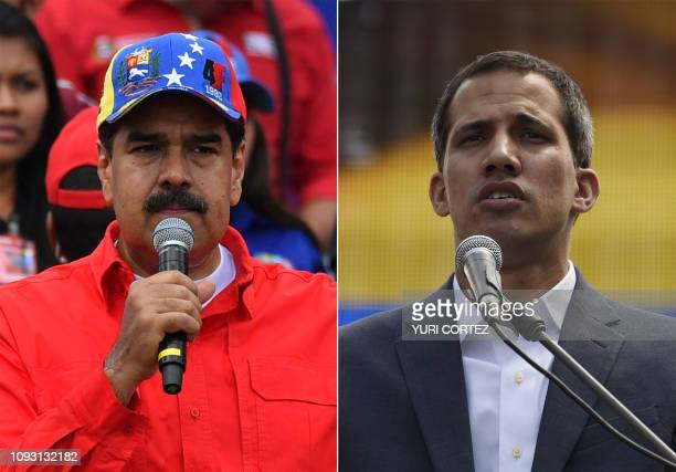 This combination of pictures created on February 02 2019 shows Venezuelan President Nicolas Maduro delivering a speech during a gathering with...