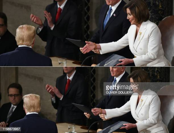 TOPSHOT This combination of pictures created on February 04 2020 shows Speaker of the US House of Representatives Nancy Pelosi extending a hand to US...