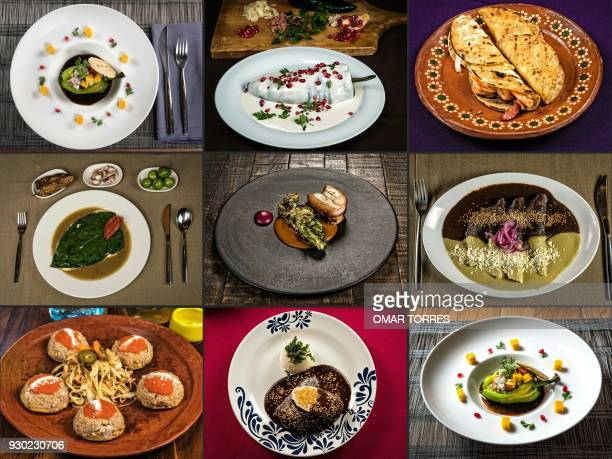 This combination of pictures created on February 07 2018 shows a dish called 'Chile de Agua' with ceviche mango passionfruit brown sugar and cinnamon...