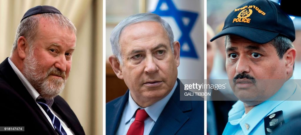 This combination of pictures created on February 14, 2018 shows Israeli attorney general Avichai Mandelblit (L) on July 19, 2017, Israeli Prime Minister Benjamin Netanyahu (C) during a cabinet meeting in Jerusalem on January 28, 2018 and the chief of the Israeli police, Commissioner Roni Alsheikh during the Jerusalem Day march in Jerusalem on May 24, 2017. Israeli police on February 13, 2018 recommended that Netanyahu be indicted in two cases of alleged corruption after a long-running probe, media reports said. / AFP PHOTO / Gali TIBBON AND Thomas COEX