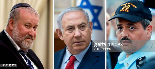 This combination of pictures created on February 14 2018 shows Israeli attorney general Avichai Mandelblit on July 19 Israeli Prime Minister Benjamin...