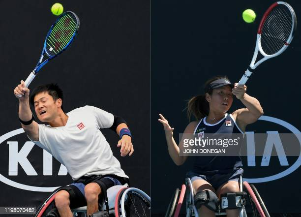 This combination of pictures created on February 2 shows Japan's Shingo Kunieda as he hits a return against Britain's Gordon Reid during their men's...