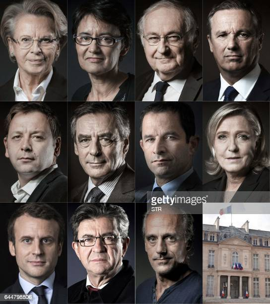 This combination of pictures created on February 24 2017 shows the declared candidates for the 2017 French Presidential elections From Top L to...