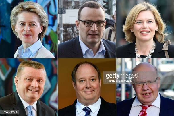 This combination of pictures created on February 25 2018 shows politicians of Germany's conservative Christian Democratic Union party tipped to...