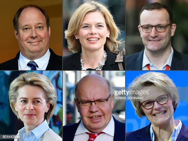 This combination of pictures created on February 26 2018 shows politicians of Germany's conservative Christian Democratic Union party named on...