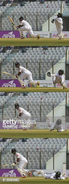 This combination of pictures created on February 3 2018 shows Bangladesh wicketkeeper Liton Das trying to take a catch to dismiss Sri Lanka cricket...