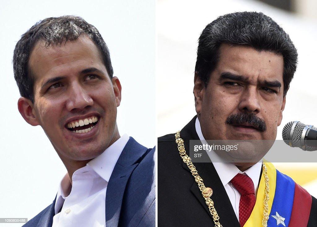 TOPSHOT-COMBO-VENEZUELA-CRISIS-MADURO-GUAIDO : News Photo