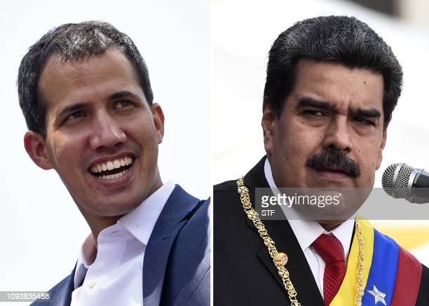 TOPSHOT This combination of pictures created on February 4 2019 shows Venezuelan opposition leader Juan Guaido smiling during a gathering with...