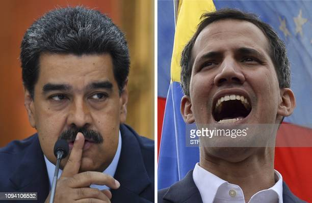 This combination of pictures created on February 5, 2019 shows Venezuelan President Nicolas Maduro gesturing during a press conference at Miraflores...