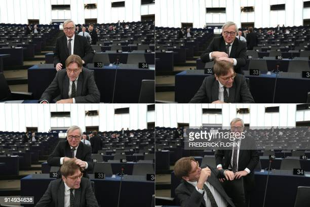 TOPSHOT This combination of pictures created on February 6 2018 shows European Commission President JeanClaude Juncker touching the head of European...