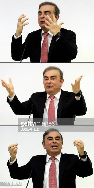 This combination of pictures created on January 08 2020 shows former RenaultNissan boss Carlos Ghosn gesturing as he addresses a large crowd of...
