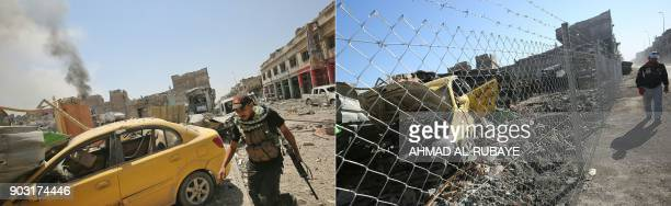 This combination of pictures created on January 09 2018 shows a member of the Iraqi CounterTerrorism Service advancing towards the AlNuri mosque in...