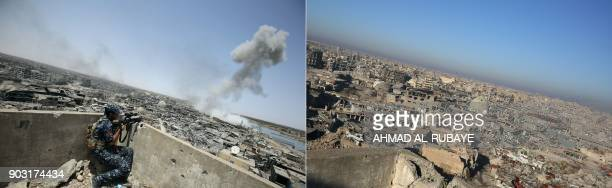 This combination of pictures created on January 09 2018 shows an member of the Iraqi forces holding a position as smoke billows following an...