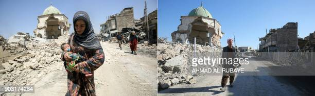 This combination of pictures created on January 09 2018 shows an Iraqi woman walking past the destroyed AlNuri Mosque as she flees from the Old City...