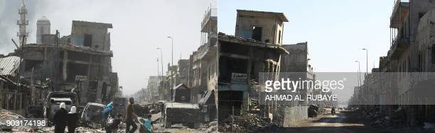 This combination of pictures created on January 09 2018 shows Iraqis fleeing the Old City of Mosul during fighting on June 30 and the same street on...