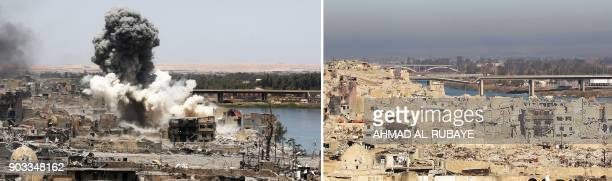 This combination of pictures created on January 10 2018 shows a general view of smoke billowing following an air strike by USled international...