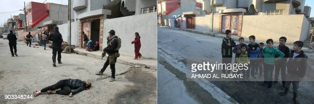 This combination of pictures created on January 10 2018 shows Iraqi security forces and civilians gathering to help a man who was injured by a mortar...
