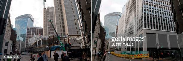 This combination of pictures created on January 11 2018 and taken a year apart on January 7 2017 and January 4 2018 shows construction near 20...