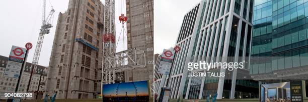 This combination of pictures created on January 11 2018 and taken a year apart on January 7 2017 and January 3 2018 shows construction near the...