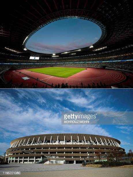 This combination of pictures created on January 21, 2020 shows indoor and outdoor general views of the National Stadium, venue for the upcoming Tokyo...