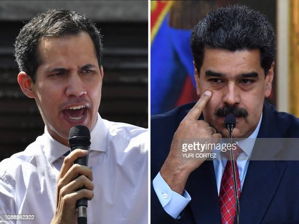This combination of pictures created on January 25 2019 shows Venezuela's National Assembly head Juan Guaido speaking to opposition supporters at the...
