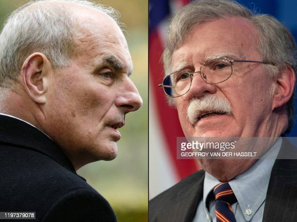 This combination of pictures created on January 28 2020 shows retired United States Marine Corps general and White House Chief of Staff John F Kelly...