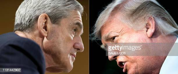 This combination of pictures created on January 8 2018 shows files photos of FBI Director Robert Mueller on June 19 in Washington DC and US President...