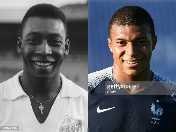 This combination of pictures created on July 01 2018 shows Brazilian striker Pele on 13 June 1961 in Colombes in the suburbs of Paris and France's...
