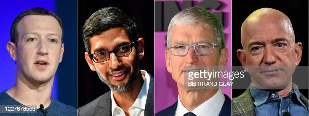 This combination of pictures created on July 07, 2020 shows Facebook CEO Mark Zuckerberg in Paris on May 23 Google CEO Sundar Pichai Berlin on...
