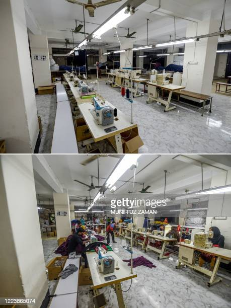 This combination of pictures created on July 1 shows an empty garment factory during a government-imposed lockdown as a preventive measure against...