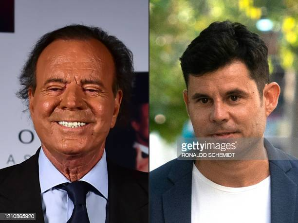 This combination of pictures created on July 10, 2019 shows a file photo taken on September 23, 2015 of Spanish singer Julio Iglesias in Mexico city...
