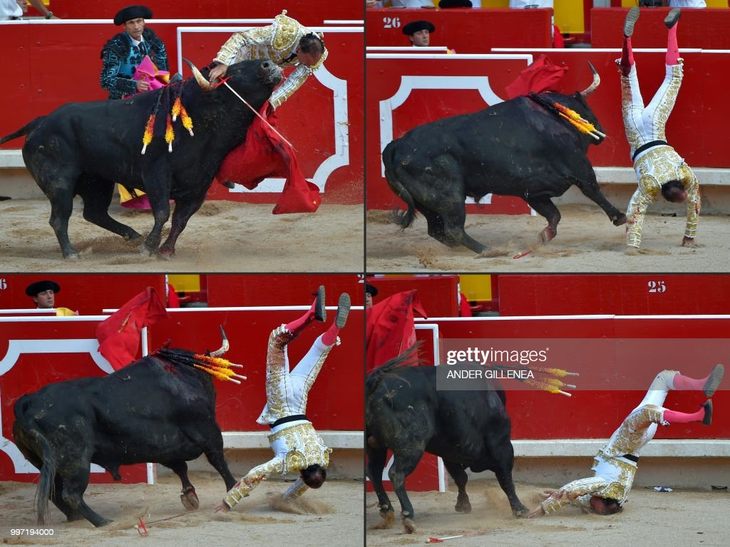 This combination of pictures created on July 12, 2018 shows Spanish matador Pepin Liria being tossed by a Victoriano del Rio fighting bull during a bullfight of the San Fermin festival in Pamplona, northern Spain on July 12, 2018. - Each day at 8am hundreds of people race with six bulls, charging along a winding, 848.6-metre (more than half a mile) course through narrow streets to the city's bull ring, where the animals are killed in a bullfight or corrida, during this festival dating back to medieval times and also featuring religious processions, folk dancing, concerts and round-the-clock drinking. Each day at 8am hundreds of people race with six bulls, charging along a winding, 848.6-metre (more than half a mile) course through narrow streets to the city's bull ring, where the animals are killed in a bullfight or corrida, during this festival dating back to medieval times and also featuring religious processions, folk dancing, concerts and round-the-clock drinking. Each day at 8am hundreds of people race with six bulls, charging along a winding, 848.6-metre (more than half a mile) course through narrow streets to the city's bull ring, where the animals are killed in a bullfight or corrida, during this festival dating back to medieval times and also featuring religious processions, folk dancing, concerts and round-the-clock drinking. Each day at 8am hundreds of people race with six bulls, charging along a winding, 848.6-metre (more than half a mile) course through narrow streets to the city's bull ring, where the animals are killed in a bullfight or corrida, during this festival dating back to medieval times and also featuring religious processions, folk dancing, concerts and round-the-clock drinking.