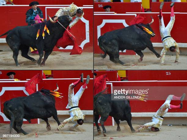 This combination of pictures created on July 12 2018 shows Spanish matador Pepin Liria being tossed by a Victoriano del Rio fighting bull during a...