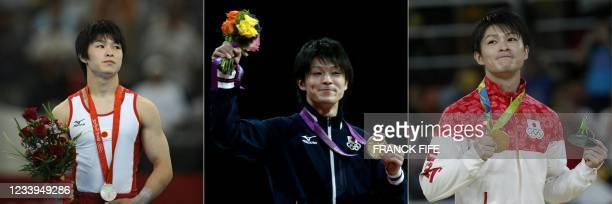 This combination of pictures created on July 13, 2021 shows Japan's Kohei Uchimura standing on the podium with his silver medal for the men's...