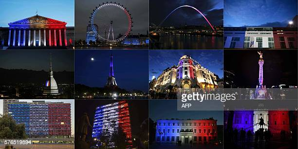This combination of pictures created on July 16 2016 shows the French National Assembly the London Eye the Gateshead Millennium Bridge in Newcastle...