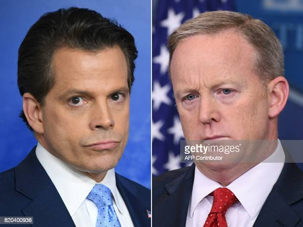 This combination of pictures created on July 21 2017 shows Anthony Scaramucci named Donald Trump's new White House communications director at the...