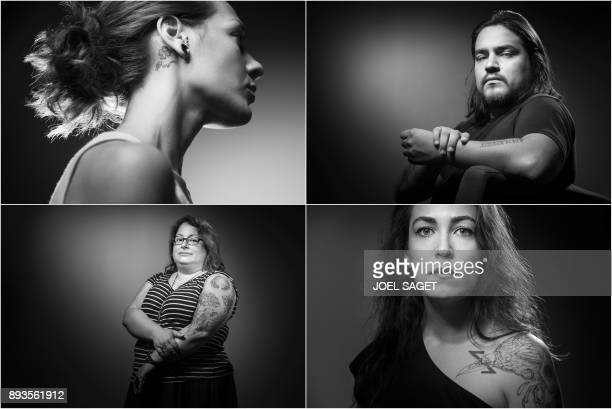 This combination of pictures created on July 25 shows Ludmila Profit who was at the Bataclan concert hall on November 13 showing her tattoo a...