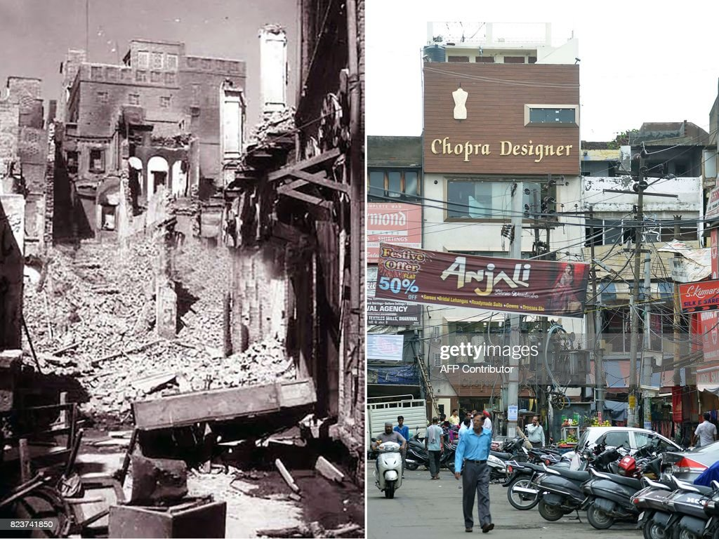 This combination of pictures created on July 28 2017 shows a photo taken in August 1947 of a destroyed building in the Katra Jaimal Singh area of...