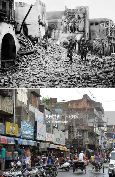 This combination of pictures created on July 28 2017 shows a photo taken on August 1947 shows Indian soldiers walking through the debris of a...