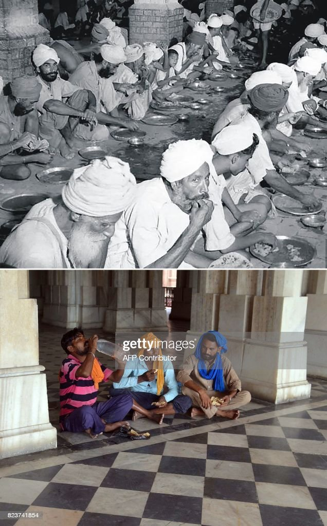 This combination of pictures created on July 28 2017 shows an undated picture taken circa 1947/1948 of Sikh people eating free food at a relief camp..