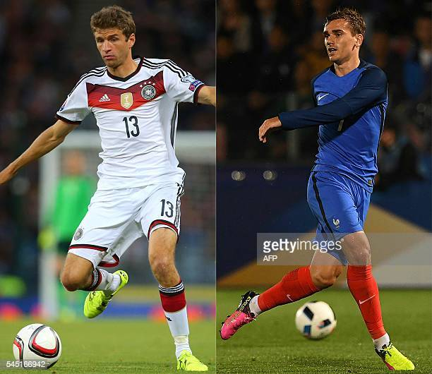 This combination of pictures created on July 4 2016 shows Thomas Muller of Germany running with the ball during the UEFA Euro 2016 qualifier between...