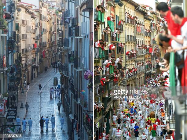 TOPSHOT This combination of pictures created on July 7 2020 shows participants walking along Estafeta street during a symbolic celebration of the...