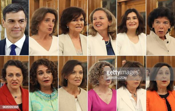 This combination of pictures created on June 07 2018 shows Spanish Prime Minister Pedro Sanchez and his new eleven female ministers Spanish minister...