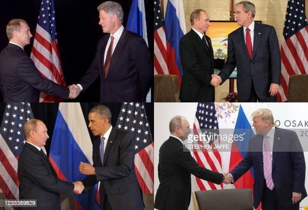 This combination of pictures created on June 11, 2021 shows Russian President Vladimir Putin shaking hands with US Presidents Bill Clinton in the...